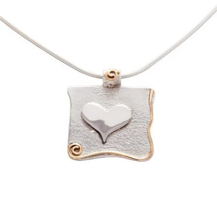 ACHICA | Banyan Heart Pendant On Chain with Gold Fill Detail, Sterling Silver