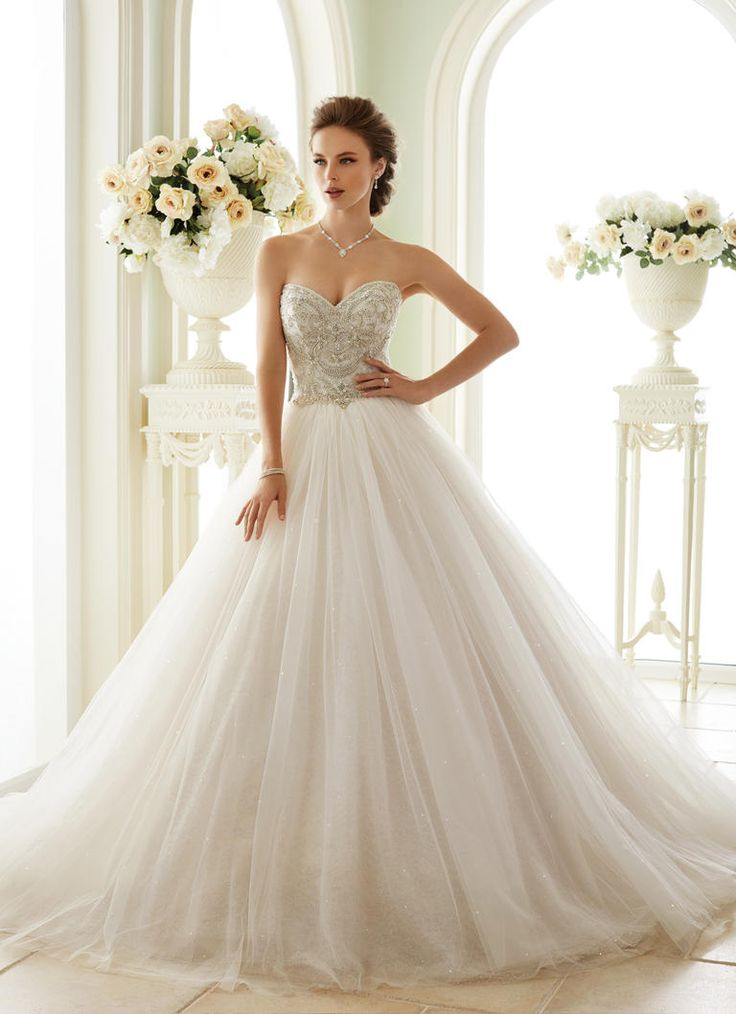 Sophia Tolli Spring 2017 strapless tulle ball gown wedding dress with beaded sweetheart neckline