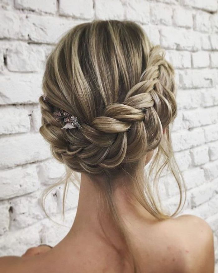 White Brick Wall Blonde Hair Braided Updo How To Do A French Braid Hair Accessory In 2020 Hair Styles Wedding Guest Hairstyles Long Long Hair Styles