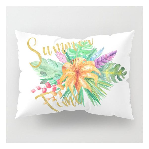Tropical leaves and flowers summer time gold brush script Pillow Sham ($39) ❤ liked on Polyvore featuring home, bed & bath, bedding, bed accessories, bloom bedding, gold shams, gold pillow shams, flower bedding and flower stem