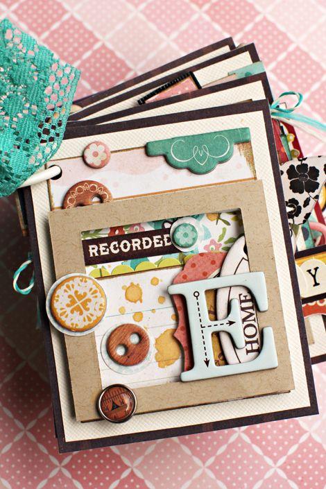 "Crate Paper Farmhouse mini album- Christine Middlecamp. multi layered ""faux-polaroid"" type pages."