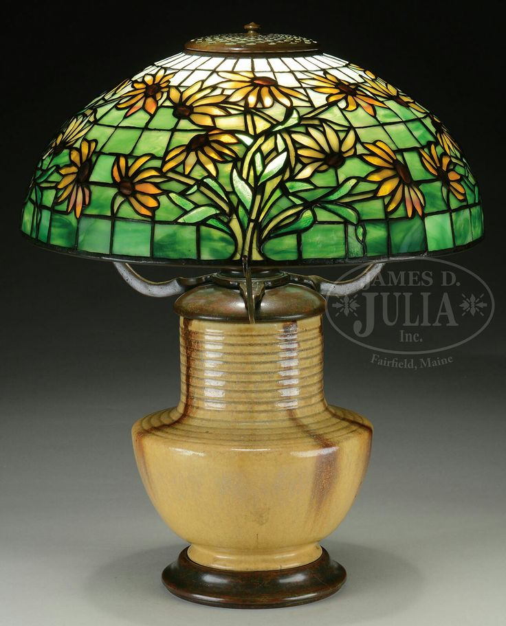 tiffany studios blackeyed susan table lamp tiffany studios table lamp has leaded dome shaped shade with blackeyed susans encircling the entire shade