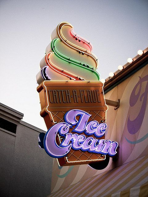 We love this retro sign because it reminds us that ice cream is timeless. #Decor #Design