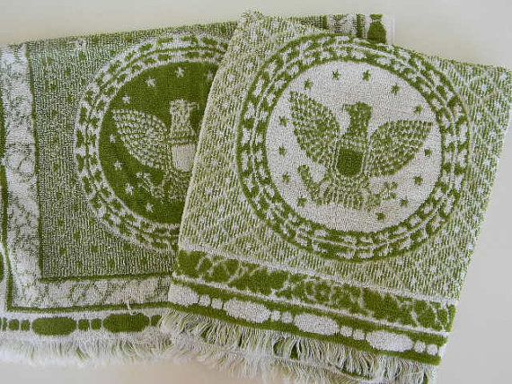 vintage eagle american green hand towel set of 2 by pillowhappy, $14.00