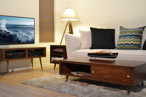 Items similar to Mid Century Modern Retro Danish TV Stand and Coffee Table - Mayan Mocha on Etsy
