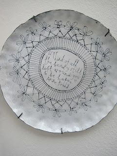 Buddug Wyn Humphreys - enamel plate #doodling #text #ceramics