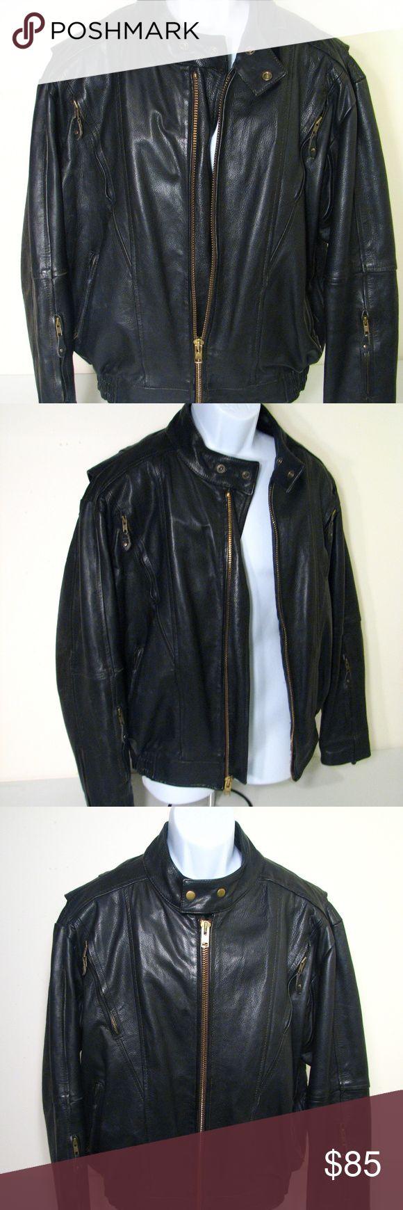 Black Leather Motercycle Jacket Heavy Duty Black Leather