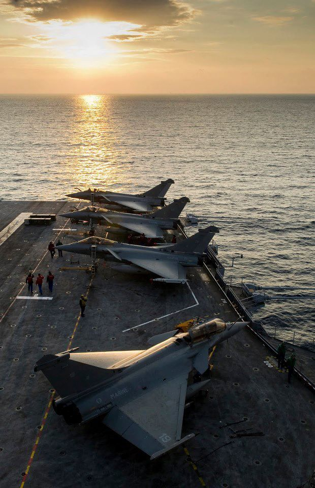 French Rafale of the 12F naval air squad on Charles de Gaule aircraft carrier. Wallpaper