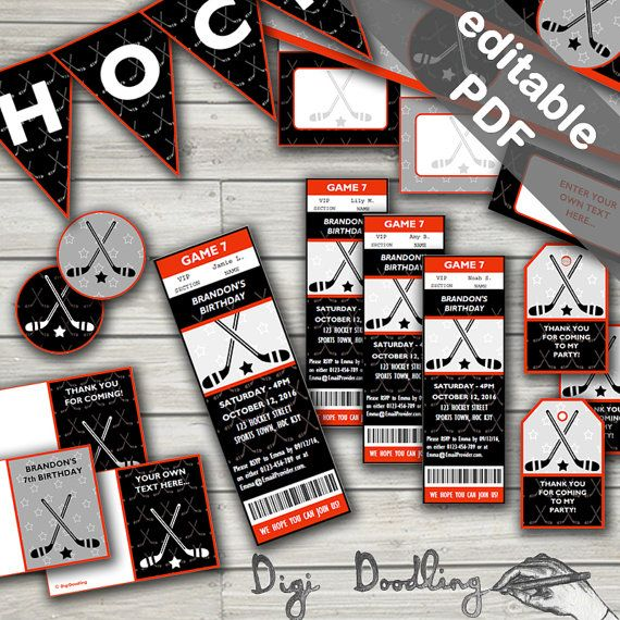 Hockey Party Printables. Includes Editable Invitations and Decorations. Instant Download.