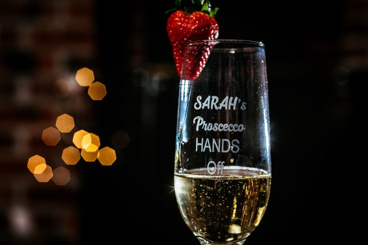 Personalised engraved champagne flute – Sarah's Proscecco Hands Off  Personalised Prosecco Glass Flute.  Great Gift Idea for Her