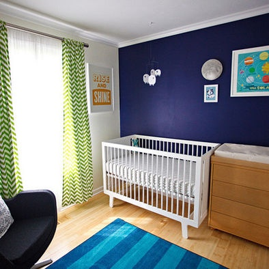 Navy accent wall w lime green and rest of walls white for Boys room accent wall