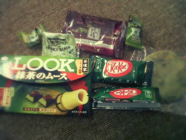 LOOK! chocolates, cookies, candies. Japanese green tea snacks surely cheer me up up up