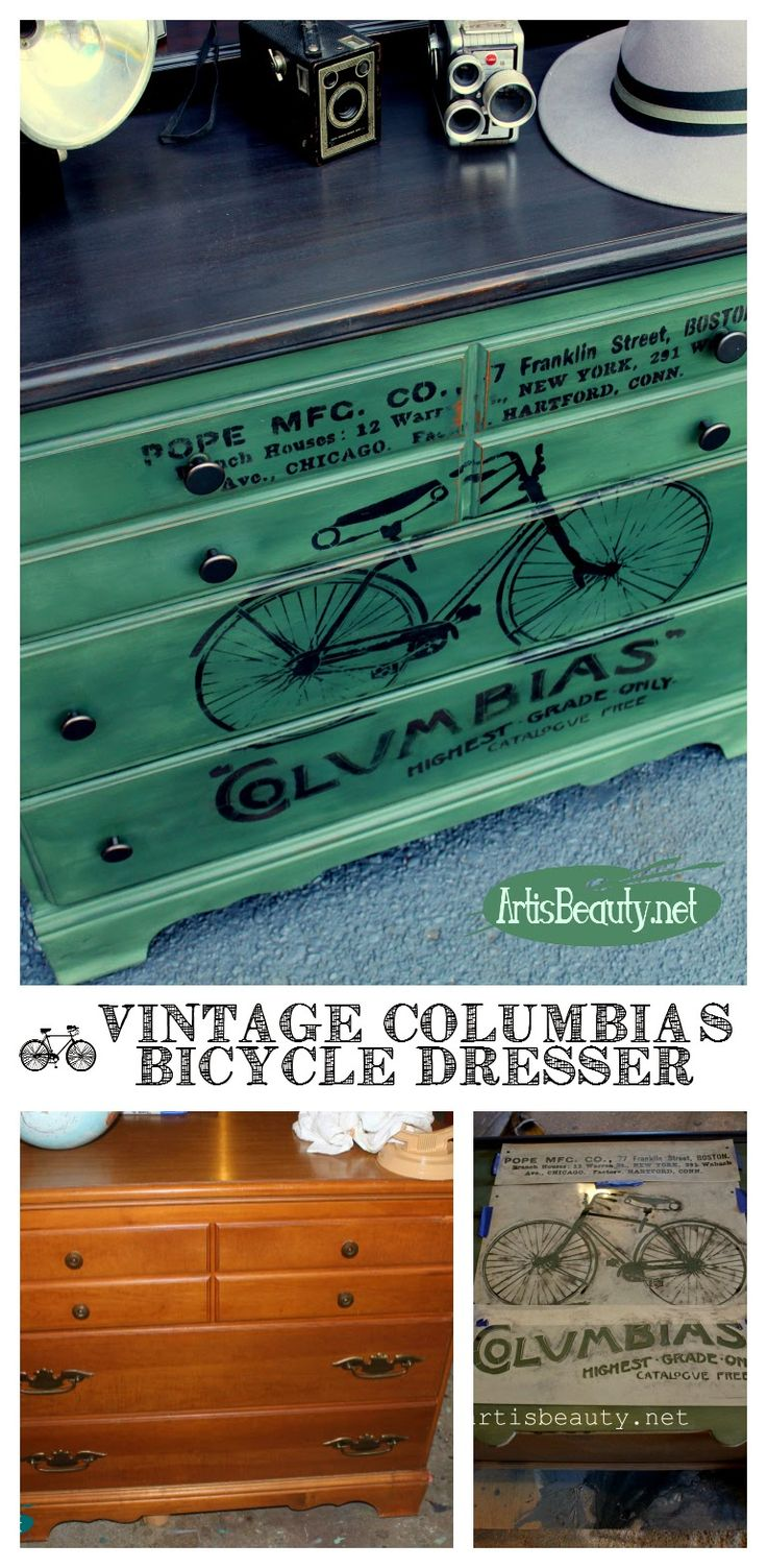 """ART IS BEAUTY: Vintage """"COLUMBIAS"""" Bicycle Dresser Makeover."""