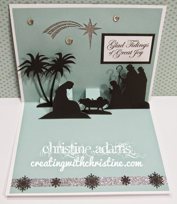 Inside view of Noel card with nativity scene made with CTMH Artfully Sent Cricut cartridge from Creating with Christine