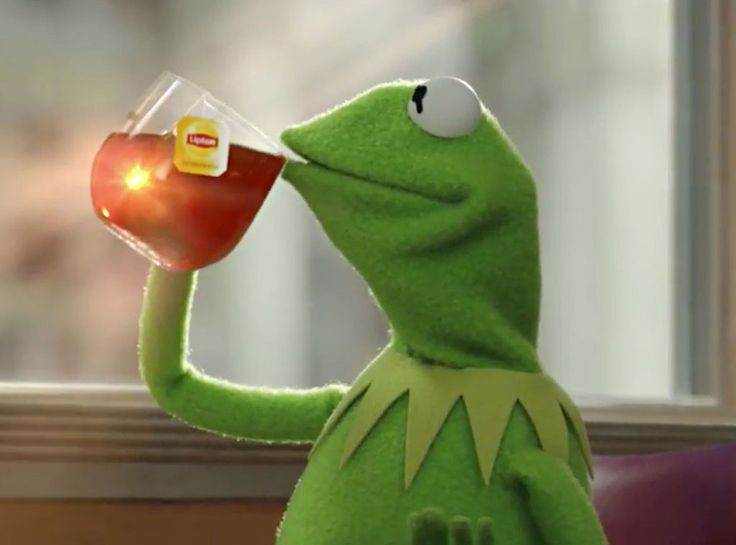 Kermit sipping tea