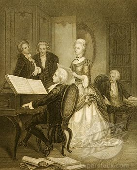 W.A.Mozart playing pianoforte accompaying the singer Caterina Cavalieri (engraving)