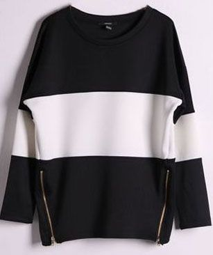 Shop Black Contrast White Long Sleeve Side Zip Sweatshirt online. Sheinside offers Black Contrast White Long Sleeve Side Zip Sweatshirt & more to fit your fashionable needs. Free Shipping Worldwide!