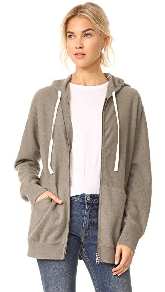 More luxurious than the cotton variety, this layering piece is a sportier version of the cardigan.--Vince Zip Front Cashmere Hoodie $495