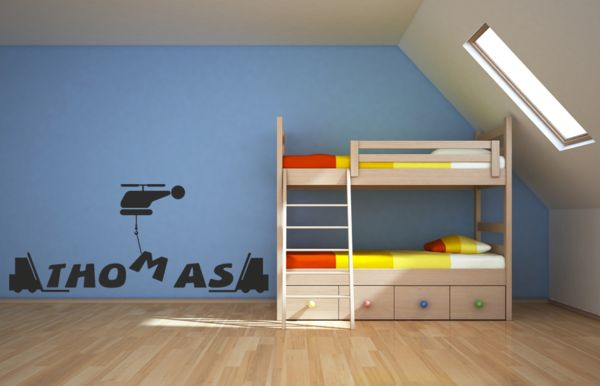 Personalised Helicopter,Boys room vinyl wall art decal  £5.99-£15.99