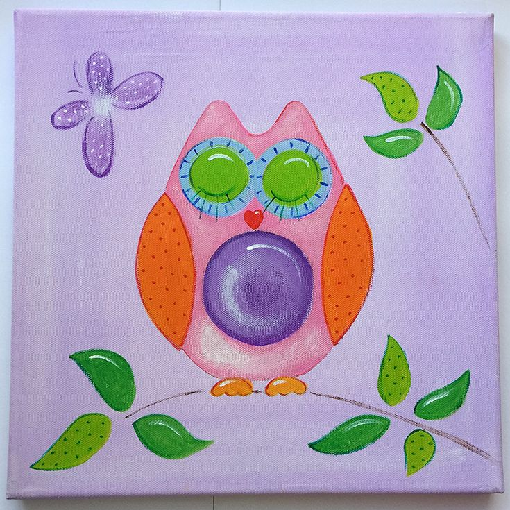 Handmade children's canvas painting with an owl in shades of purple, green, orange, pink and blue.