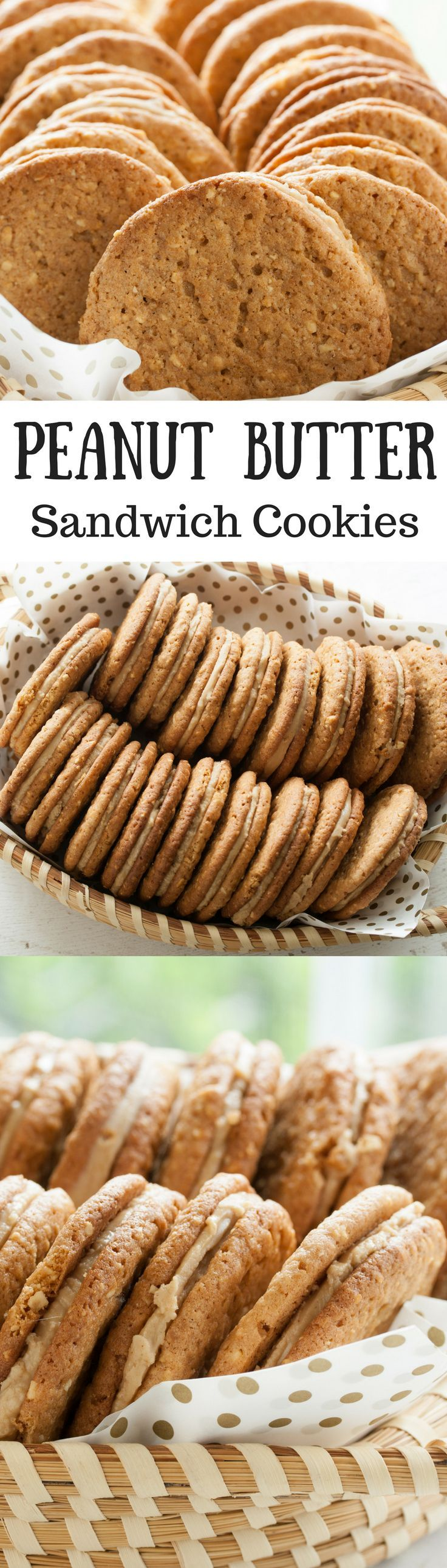 Peanut Butter Sandwich Cookies ~ What does it take to make a perfect peanut butter sandwich cookie? These cookies have just the right about of crispy crunch without crumbling, and a smooth, sweet, creamy filling that doesn't ooze out the sides when you take a bite. And these Peanut Butter Sandwich Cookies have a robust peanut flavor. It is perfectly delicious. www.savingdessert.com   peanut butter cookies   peanut butter sandwich cookies