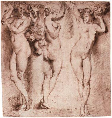 Three caryatids by Rubens. Order from DEKORAMI as a poster, canvas print, mural. Zamów jako obraz na płótnie, plakat lub fototapetę na DEKORAMI.pl