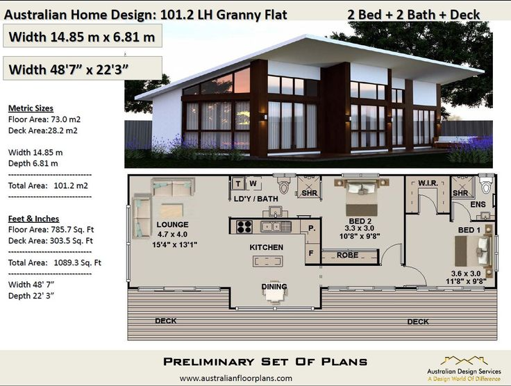 101.2 m2 or 1089 sq foot Australian 2 Bedroom house plan