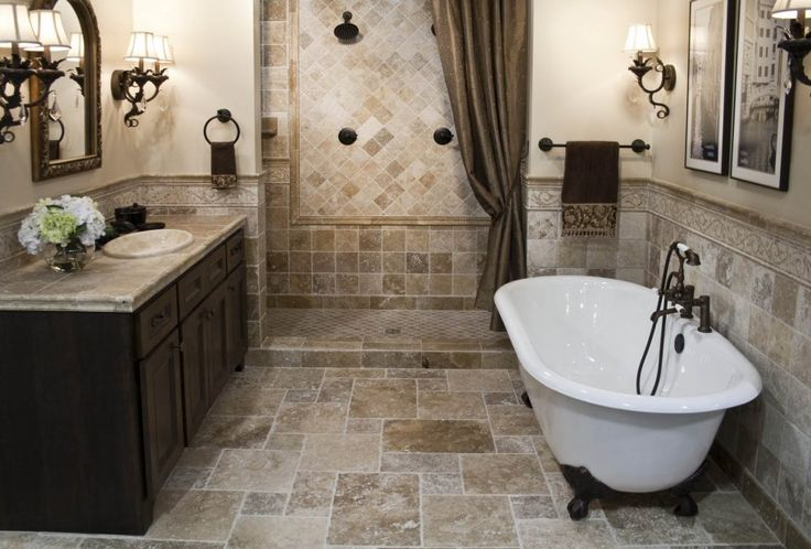 Terrific Mediterranean Bathroom Decor Ideas With Classic White Bathtub And Granite Vanity Top With Sink And Dark Wood Cabinet : Kitchen and Bathroom Design Ideas with Natural Touches