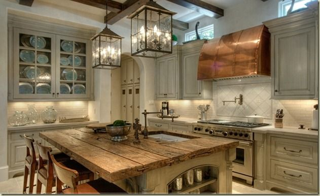 Ilot Central Cuisine Bois Brut : Rustic Kitchen Lighting