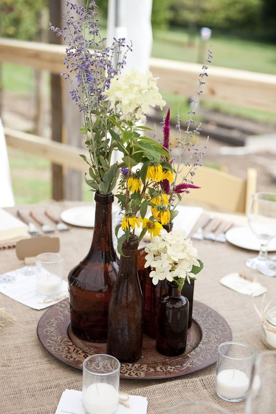 1 Fabulous Amber Bottles Wedding Centerpieces Ideas 11