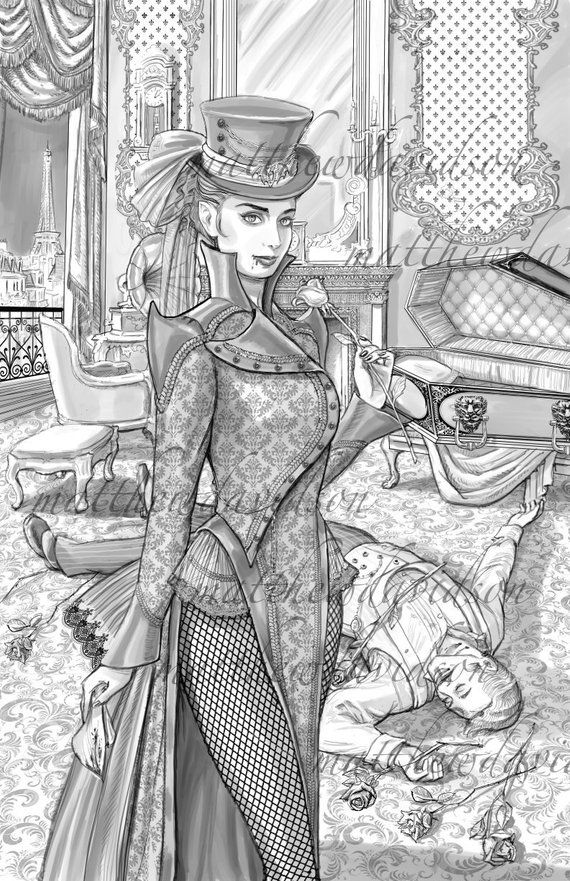 Dracula's Daughter, adult colouring page, victorian, steampunk, Halloween, vampire, coloring book, g – hans langer