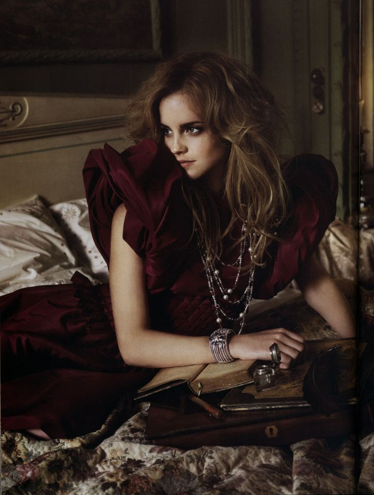 Emma Watson with old books in Vogue Italia by Mark Seliger, September 2008. Better known as Hermione in Harry Potter, Watson wears beautiful...