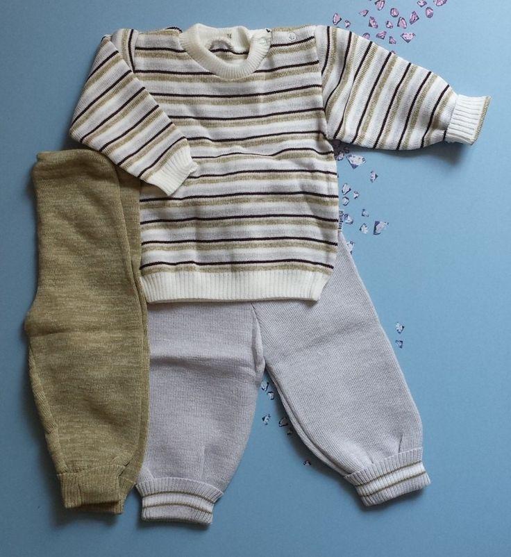 retro vintage gebreid oude babykleertjes gebreid door nederlands merk Bengeltje in the 70's broekjes en strepentruitje voor 3 tot 9 maanden door Smufje op Etsy
