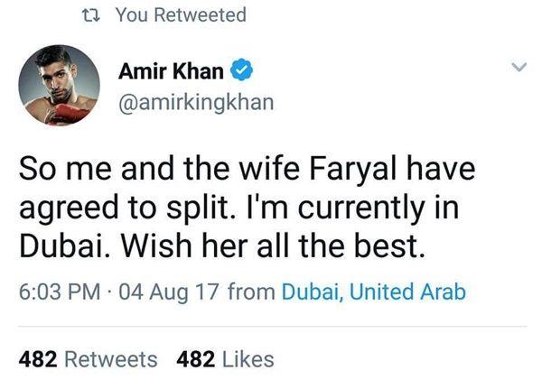 Boxer Aamir Khan and wife Faryal SPLIT UP
