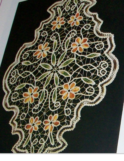 Example of colorful Romanian Point Lace