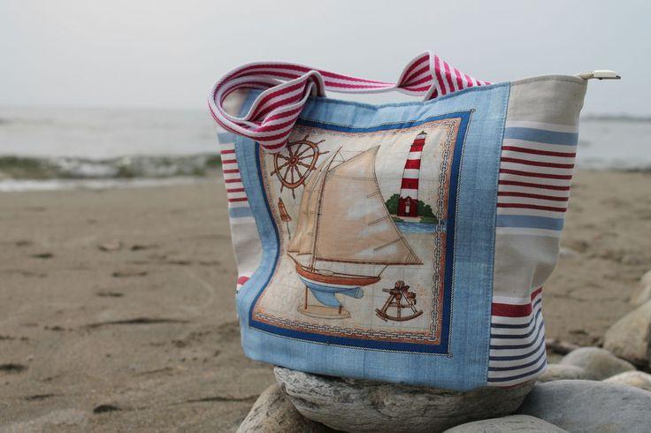 Купить Сумка в морском стиле - голубой, однотонный, сумка женская, пляжная мода, пляжная сумка