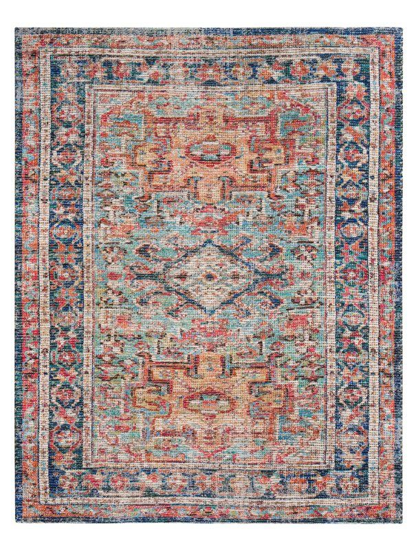 Hartville Distressed Handwoven Flatweave Red Blue Area Rug Medallion Rug Multicolored Rugs Antique Persian Carpet