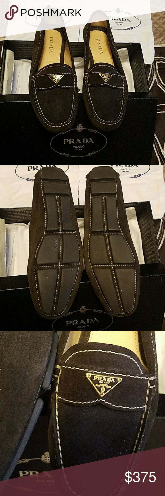 Prada brown suede loafers - 37 Brand new in original box-brown suede Prada women's loafers - size 37 European.  Made in Italy. Prada Shoes Flats & Loafers