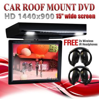 """15"""" DVD player Roof mount In Car Flip Down Monitor"""
