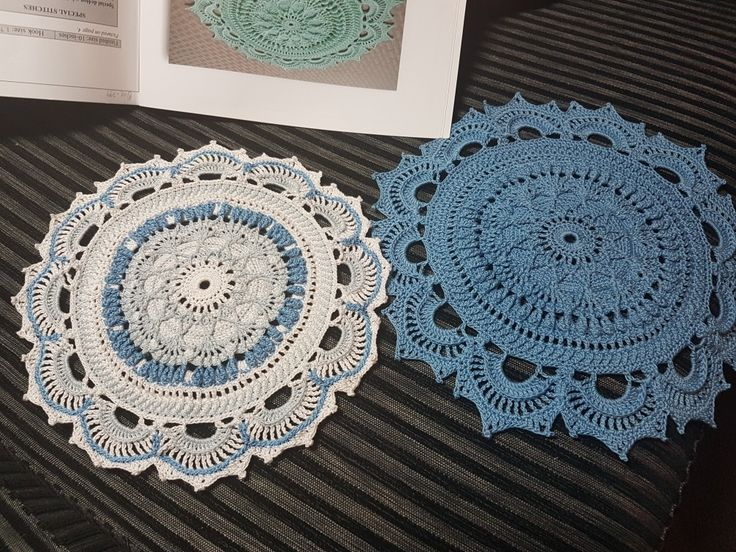 #EmilyandtheHandmade #doilies Size 10 mercerised cotton and size 1.75mm hook. Blue/White one for Cindy