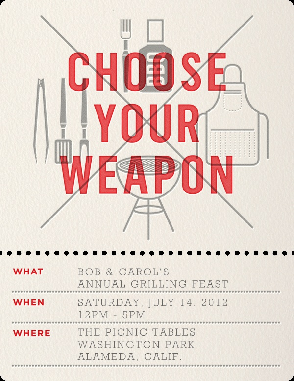 """""""Choose Your Weapon"""" Invitation, by Enormous Champion, Paperless Post"""