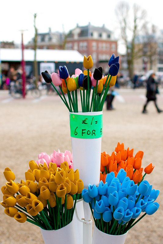 Museumplein, Amsterdam, The Netherlands, December 2013 - January 2014, Wooden tulip souvenir