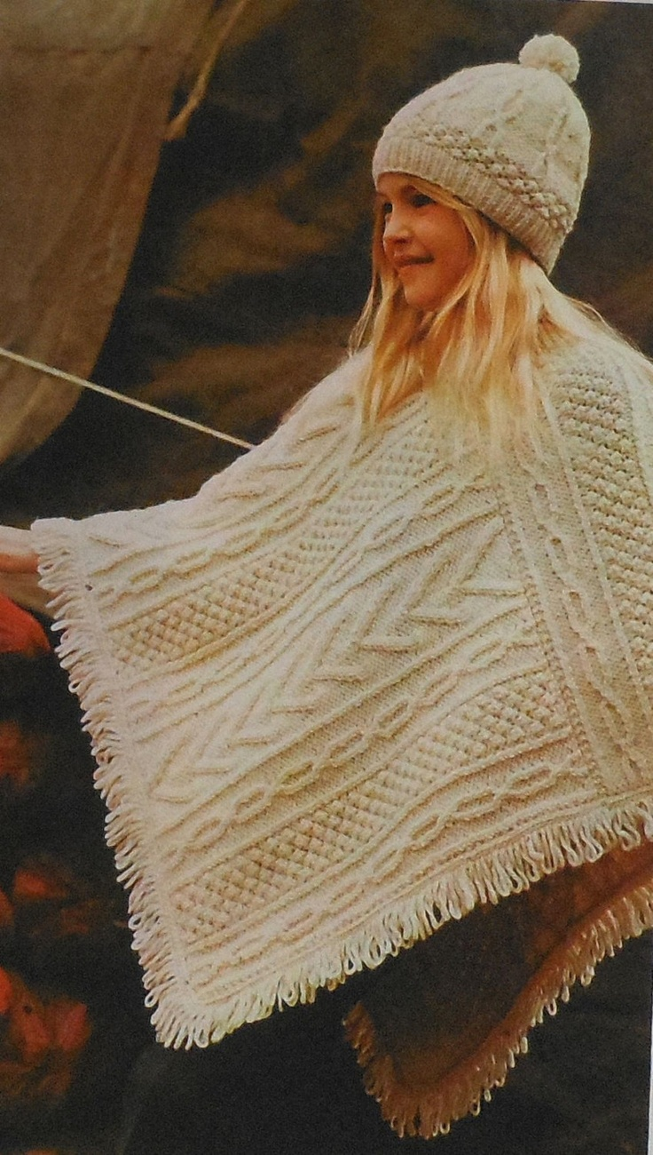 Aran Childrens Knitting Patterns : Vintage Childs Aran Poncho and Hat Knitting Pattern retro 70s Vintage, Knit...