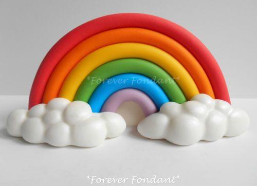 Rainbow Cake Decorations Uk : Fondant rainbow large cake topper decoration set handmade ...