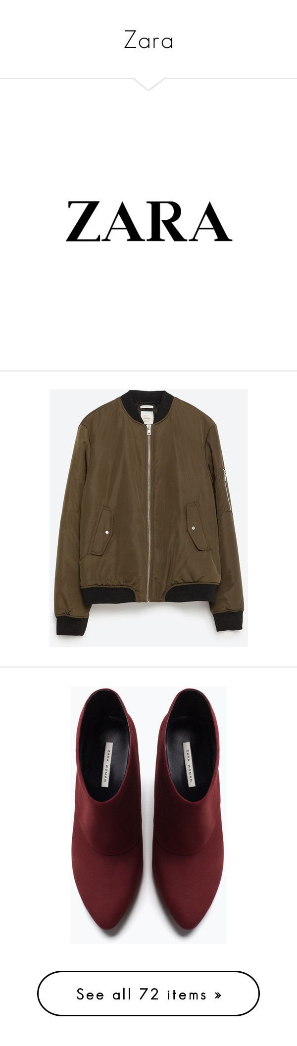 """""""Zara"""" by dddawn ❤ liked on Polyvore featuring logos, outerwear, jackets, zara, bomber jacket, bomber, moss green, flight bomber jacket, nylon bomber jacket and lined bomber jacket"""