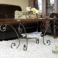 A wrought iron coffee table