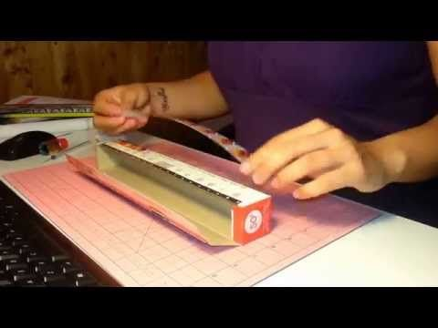 How to make a washi tape dispenser with an aluminium foil or plastic wrap box! - YouTube