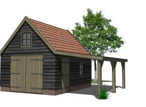 Houten schuur met overkapping tuin pinterest tes met and van - Steen en constructie ...