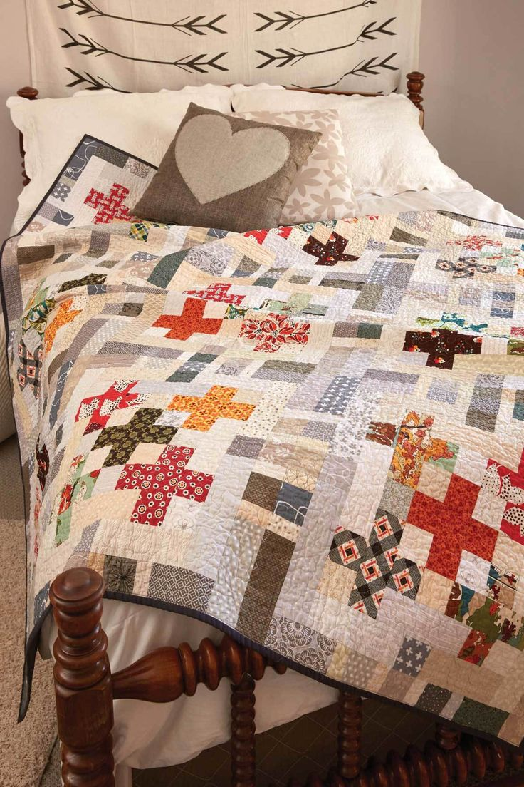 "Grab your precuts and get started! 2½""-wide strips lessen the prep time for this throw quilt pattern called Five by Five by designer Kristin Lawson. The colors and prints in this quilt are so much fun!"