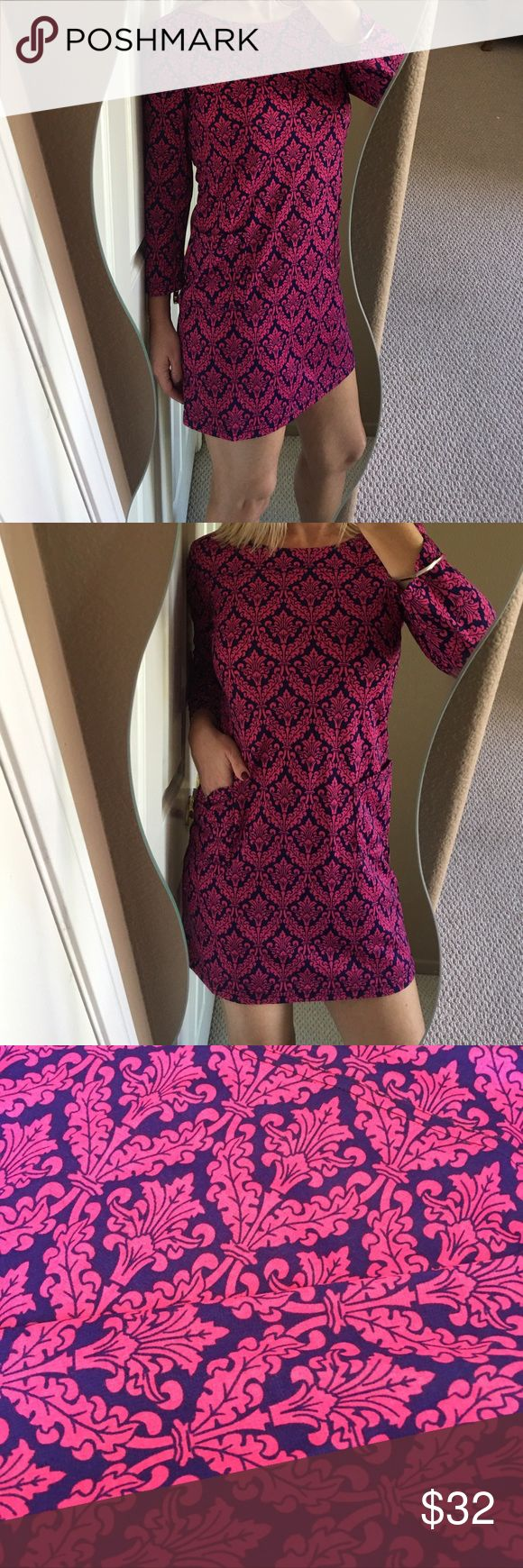 💕Brand New Fuchsia & Navy Lattice Patterned Dress Beautiful and chic brand new fuchsia and navy lattice patterned mini dress! Polyester/Lanon fabric, front pockets, 3/4 length sleeves, hits above knee. Super comfortable and flattering fit! Perfect autumn dress! Back closure with gold plated button. ❤️ Boutique Dresses Mini